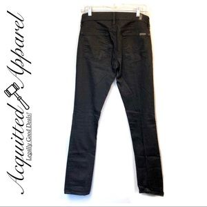 7 For All Mankind Straight Leg Black Jeans Stretch